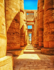 Fotobehang Egypte Great Hypostyle Hall at the Temples of Luxor (ancient Thebes). Columns of Luxor temple in Luxor, Egypt