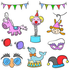 Collection circus element cute doodles