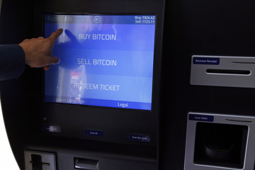 Romania's first bitcoin ATM is seen in downtown Bucharest