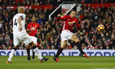 Manchester United's Zlatan Ibrahimovic shoots at goal