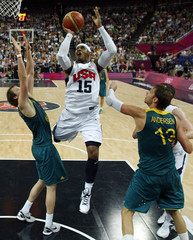 Anthony of the U.S. shoot against Australia during their men's quarterfinal basketball match at the North Greenwich Arena in London during the London 2012 Olympic Games