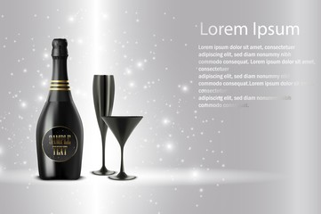 Black wine bottle with black wine glass on sparkling background