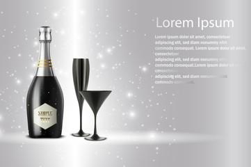 Black wine bottle with black wine glass on sparkling background