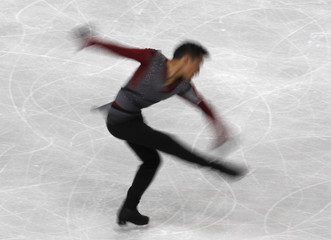 Amodio of France performs his men's short programme at the European Figure Skating Championships in Sheffield