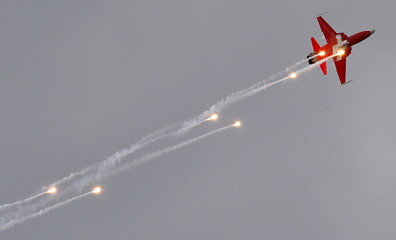 A member of the Patrouille Suisse flight team of the Swiss Air Force performs in his Northrop F-5 Tiger II fighter jet during a media day at the airbase in Emmen