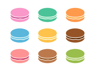 Canvas Prints Macarons Colorful macaroons or macarons sweet confection flat color icon for food apps and websites