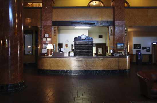 Lobby and front desk of the Gadsden Hotel in Douglas
