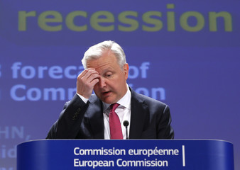 European Economic and Monetary Affairs Commissioner Rehn presents the EU Commission's interim economic forecast in Brussels
