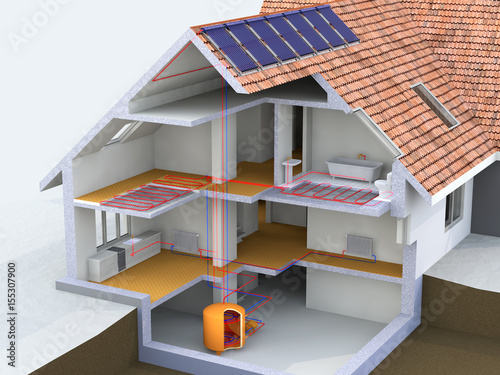 Alternative Heated House With Solar Panels Geothermal Heating