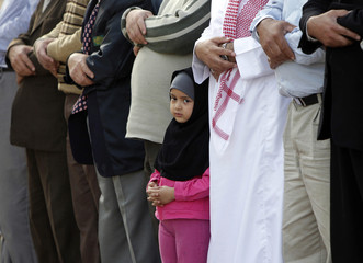 Muslims pray for rain in drought-hit Jordan during a mass prayer organised by the Muslim Brotherhood movement in Amman