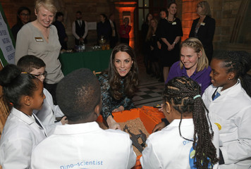 Britain's Catherine, Duchess of Cambridge attends a children's tea party to celebrate Dippy the Diplodocus's time in Hintze Hall with pupils from Oakington Manor Primary School, at the Natural History Museum in London