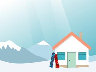 Ski resort banner, mountains landscape, village house, colorful snowboard. Winter wide illustration concept