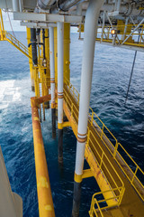 Gas incoming sea line pipe enter to oil and gas central processing platform.