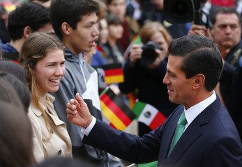 Mexico's President Nieto speaks to wellwishers at the Bellevue presidential palace in Berlin
