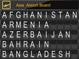 Asia Country Airport Board Information