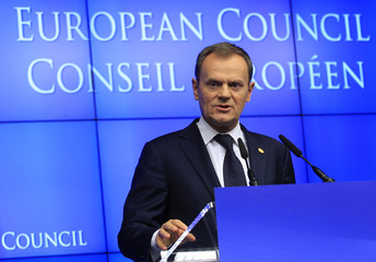 Poland's Prime Minister Tusk speaks at a news conference at the end of an European Union leaders summit in Brussels