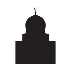 Vector picture of a silhouette of a mosque with a large dome and a crescent, a flat icon
