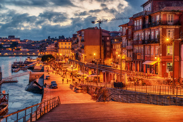 Porto, Portugal: the old town at sunset