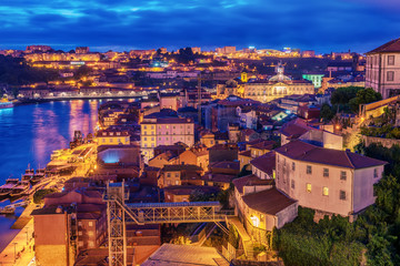 Porto, Portugal: aerial  view of the old town at sunset