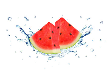 Watermelon splash water isolated