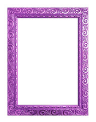 Antique purple frame isolated on white background, clipping path