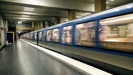 Munich, Germany - Underground train leaving the station