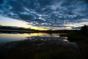 Beautiful sunset on the lake shore