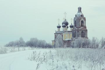 Printed kitchen splashbacks Light blue Old Orthodox Church in the winter landscape