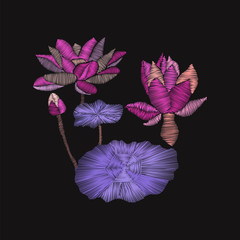 embroidery floral pattern with lotus and leaves