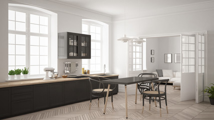 Minimalist scandinavian white kitchen with living room in the background, classic white and gray interior design