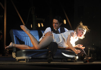"Actors Strasser and de Nardo perform on stage during a dress rehearsal of Tennessee Williams' play ""Baby Doll"" in Vienna"