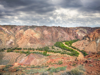 Charyn river canyon in desert of Kazakhstan