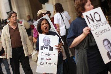 Educators and parents join a protest on education reform in San Francisco