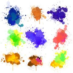 Nine water color splashes
