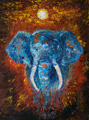 Oil art on canvas of african elephant and sunset