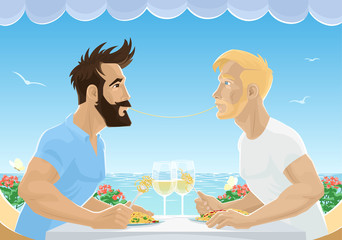 Gay male couple eating spaghetti in restaurant by sea. Handsome men in love having lunch with wine. Homosexual love concept. Vector illustration