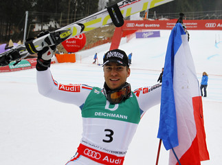 Richard of France celebrates silver medal  in the men's giant slalom race during the Alpine Skiing World Championships in Garmisch-Partenkirchen