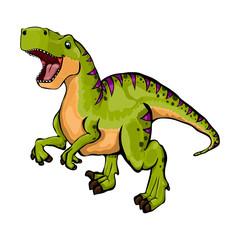 Isolated illustration of a cartoon dinosaur