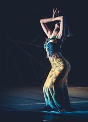 Beautiful girl dancer , Traditional Chinese peakcock dance