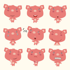 Set funny pig in different poses. Collection isolated pig in cartoon style for design for children holiday and goods.