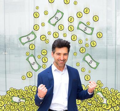Portrait of an attractive business man winning a lot of money - Business concept