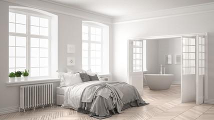 Minimalist scandinavian white bedroom with bathroom in the background, classic white interior design