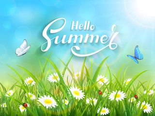 Lettering Hello Summer on blue nature background