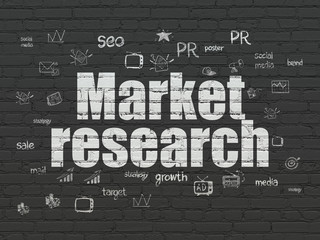 Advertising concept: Market Research on wall background