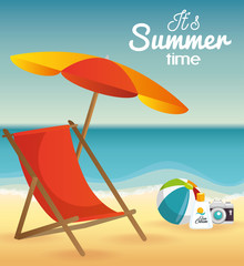 Beach landscape with umbrella, deck chair and related objects. Vector illustration.