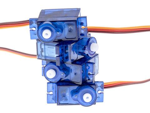 Blue servo motors isolated on white