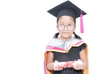 cute girl student in graduation cap with certificate