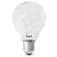 Exploding light bulb on white background. 3D Rendering