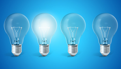 Group of lamp bulbs on blue background with single glowing bulb. Concept innovation ideas, 3d rendering