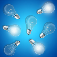 Group of lamp bulbs on blue background with glowing bulbs. Concept innovation ideas, 3d rendering